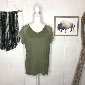 Two by Vince Camuto green tee with sheer sleeves